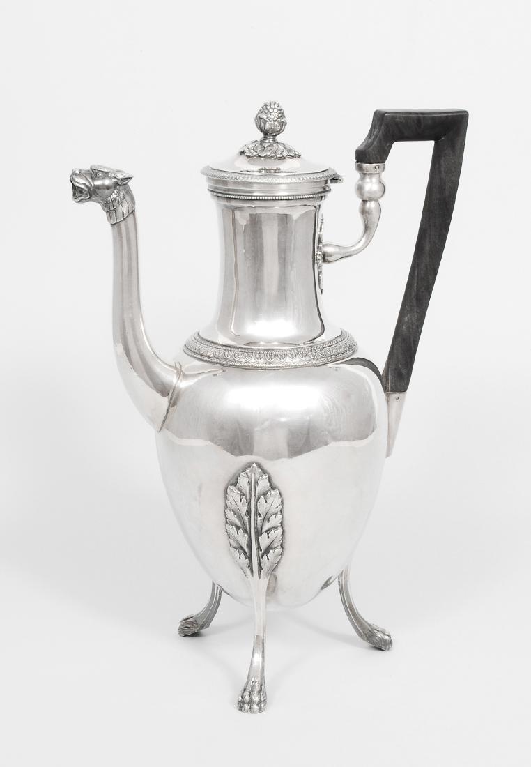 Kaffeekanne Frankreich, 19.Jh. Silber. Ovoide Form auf