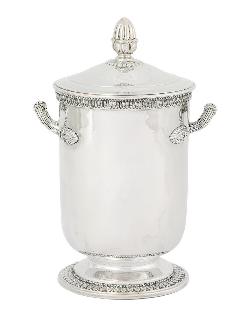 Eisbehälter Italien, 20.Jh. Silber. Zylindrische,
