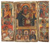 Grosses Triptychon Äthiopien, 18.Jh. Farbige Malerei