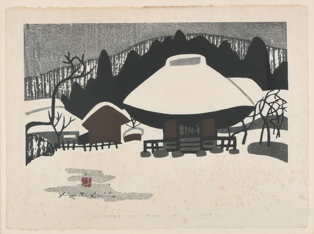 Saito Kiyoshi (1907–1997) Farbholzschnitt. Winter in