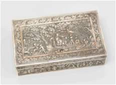 Silberschatulle China, um 1900. Exportsilber.