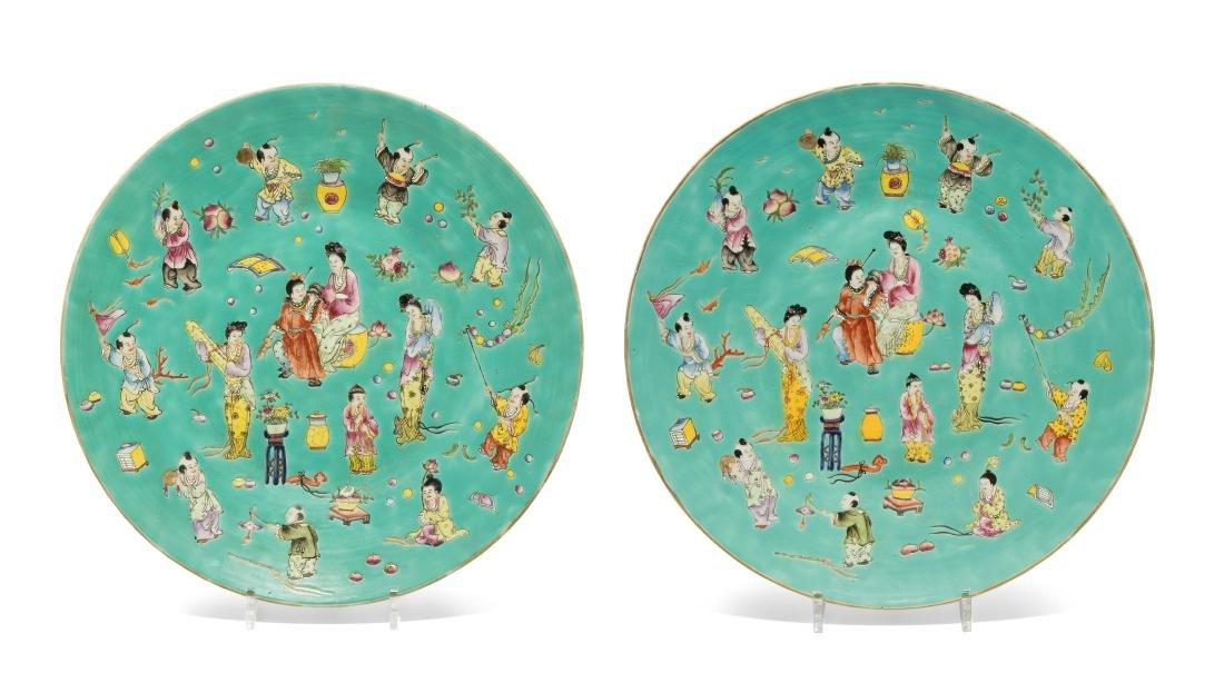 1 Paar Platten China, Republik-Zeit. Eisenrote