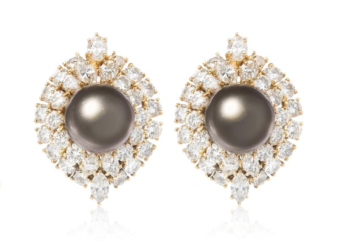 Harry Winston Tahitiperl-Diamant-Ohrclips New York,