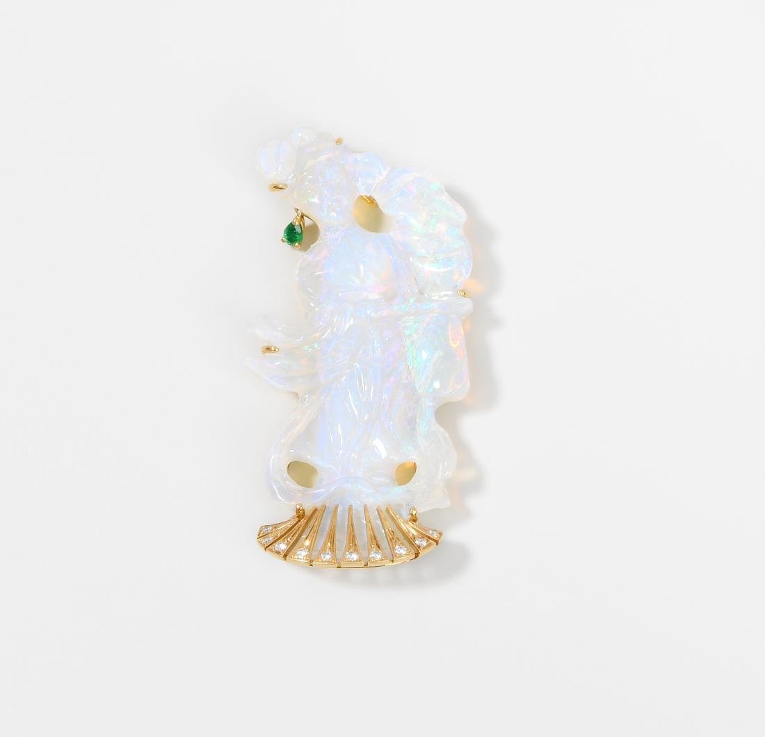 Opal-Smaragd-Brillant-Brosche 750 Gelbgold. Aus Opal