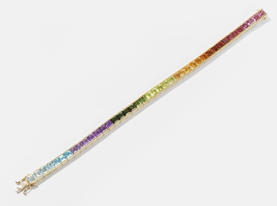 Edelstein-Regenbogen-Bracelet 750 Gelbgold. Rivière aus