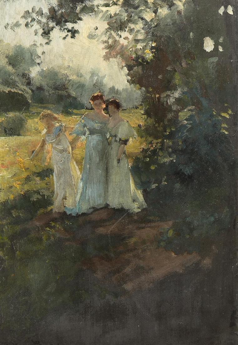 Genfer Schule 2.Hälfte 19.Jh. Drei Frauen im Park.