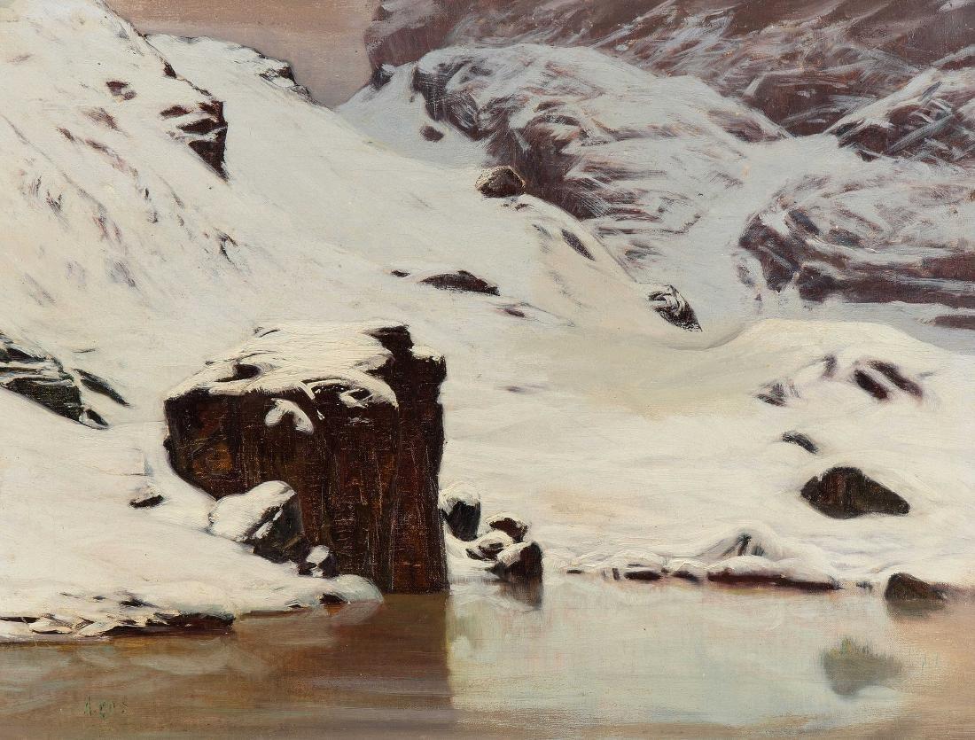 Gos, Albert (1852 Genf 1942) Winter am Riffelsee. Öl