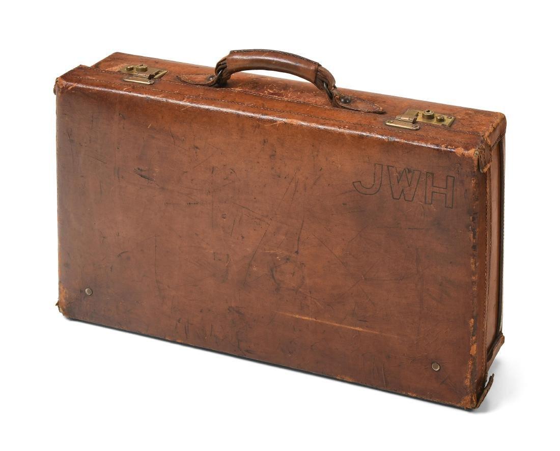 Reisekoffer Um 1910/20. Brauner Lederkoffer mit