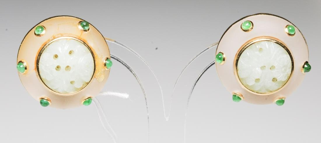 Bergkristall-Smaragd-Jade-Ohrclips 750 Gelbgold. Jade