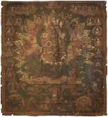 Thangka des Mahakala Tibet. Farbe auf Leinwand.