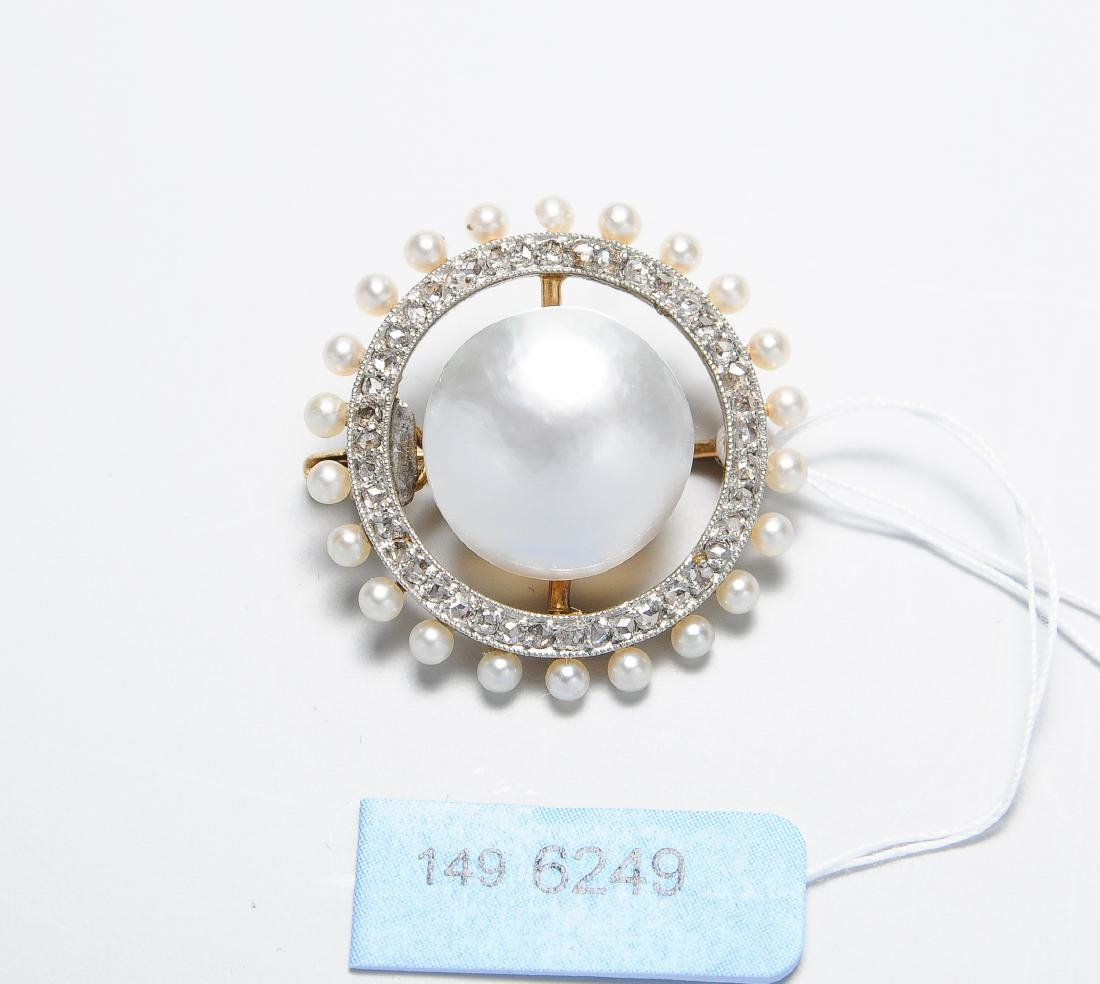 Perlen-Diamant-Brosche Niederlande. Anfang 20.Jh. 1