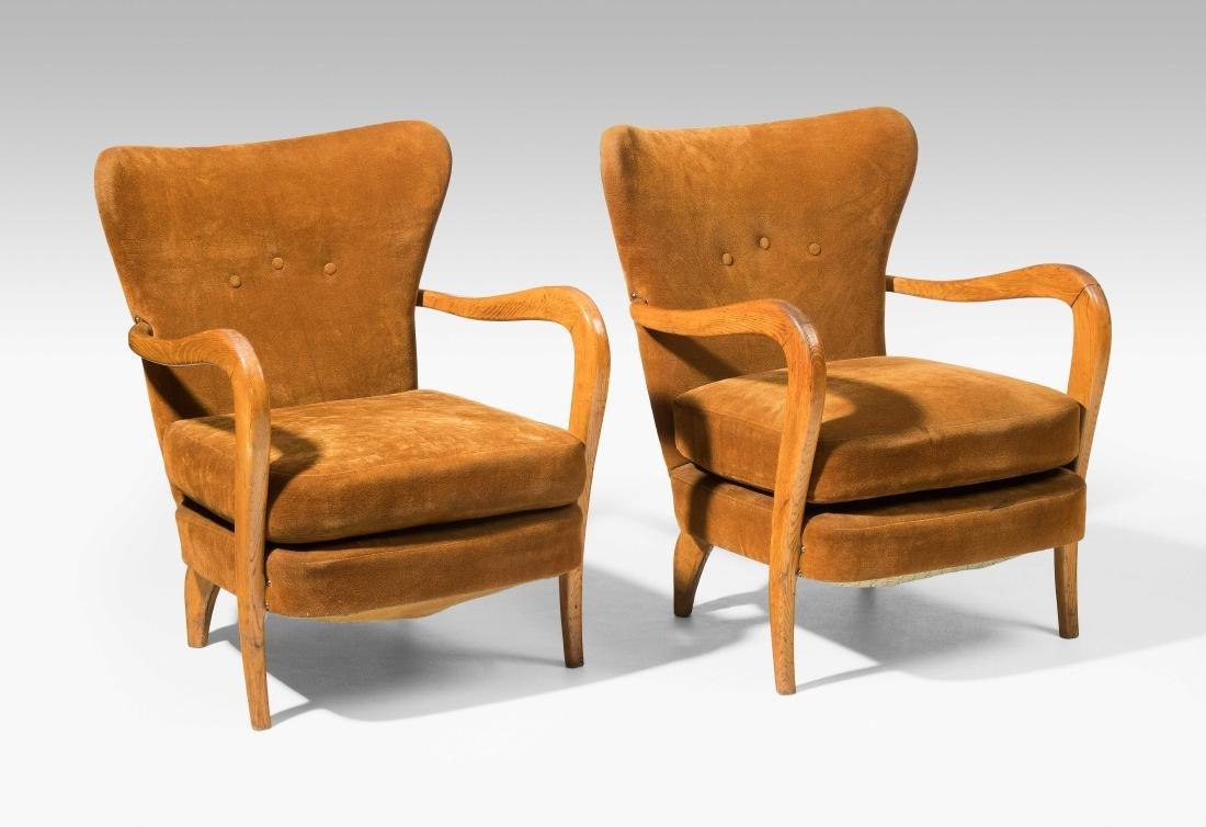 1 Paar Sessel 1940er Jahre. In der Art von Silvio