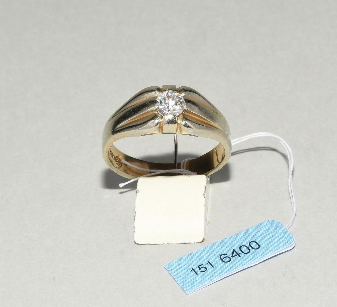 Brillant-Ring 750 Weissgold. 1 Altschliff-Diamant ca.