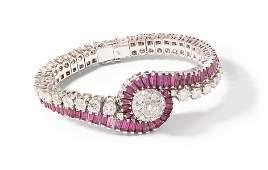 Brillant-Rubin-Damenarmbanduhr
