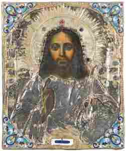 Christus Pantokrator mit vergoldetem Silberoklad