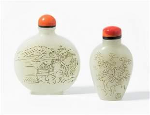 2 Jade Snuff Bottles