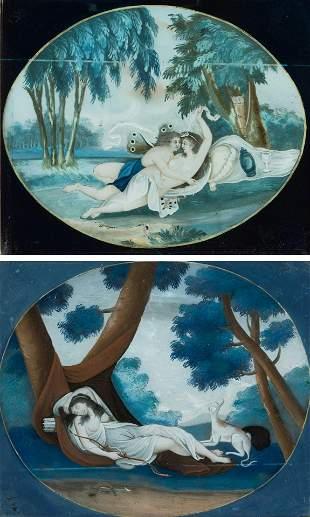 2 Hinterglasmalereien mit europischem Motiv