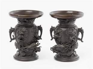 1 Paar kleine Bronzevasen
