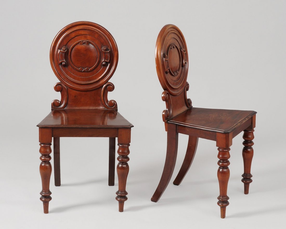 1 Paar Hall Chairs Victorian ca.1850. England.