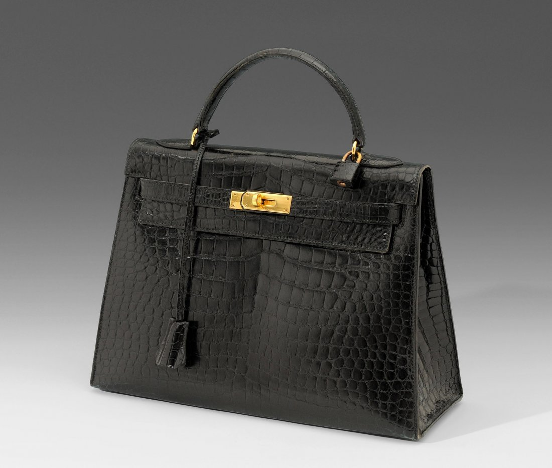 """Hermès, schwarze """"Kroko-Kelly"""", 32 cm Kelly-Handtasche"""