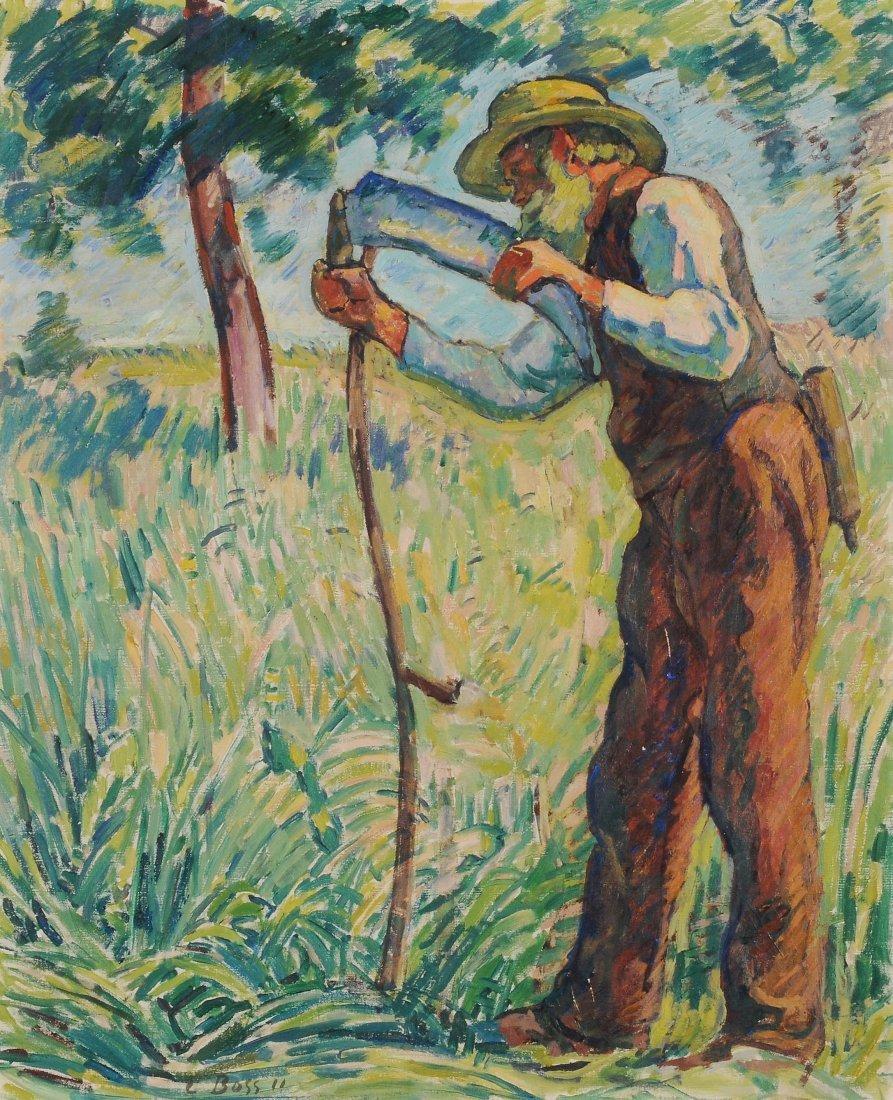 Boss, Eduard (Muri 1873–1958 Bern) Bauer beim Dengeln