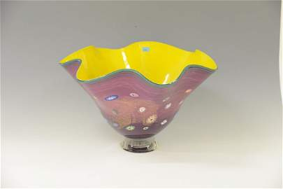 Schale, Chihuly-Style, USA Farbloses Glas, gelb und