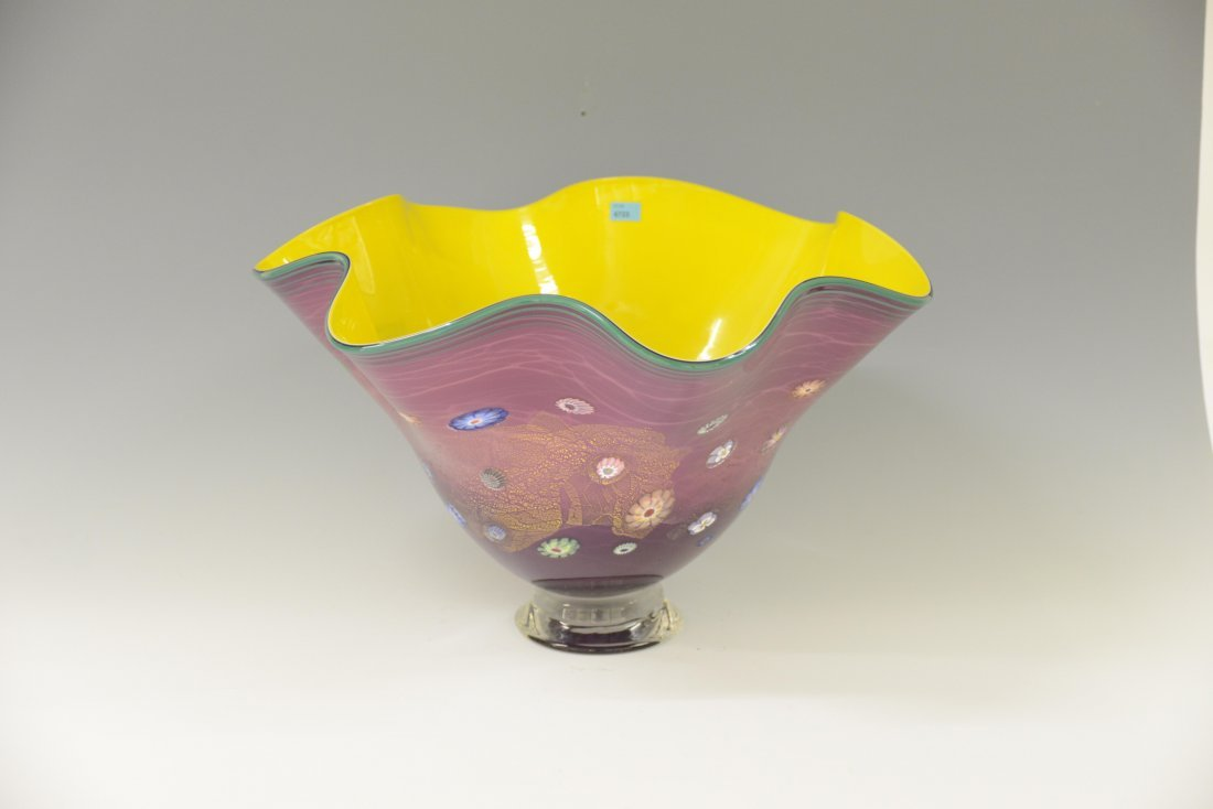 Schale, Chihuly-Style, USA Farbloses Glas, gelb und