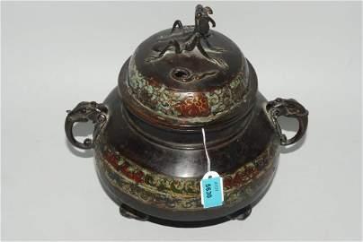 Räuchergefäss Japan, um 1900. Bronze mit Email