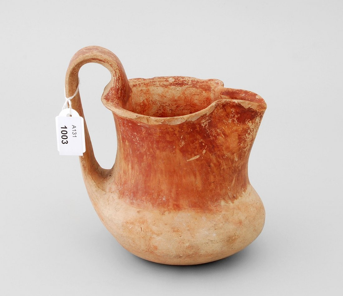 Henkelkanne Anatolien, 1.Jt. v. Chr. Rötlicher Ton mit