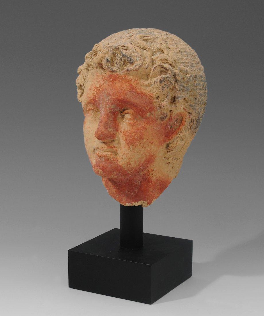 Portraitkopf Etruskisch, 3–1.Jh. v. Chr. Ton mit