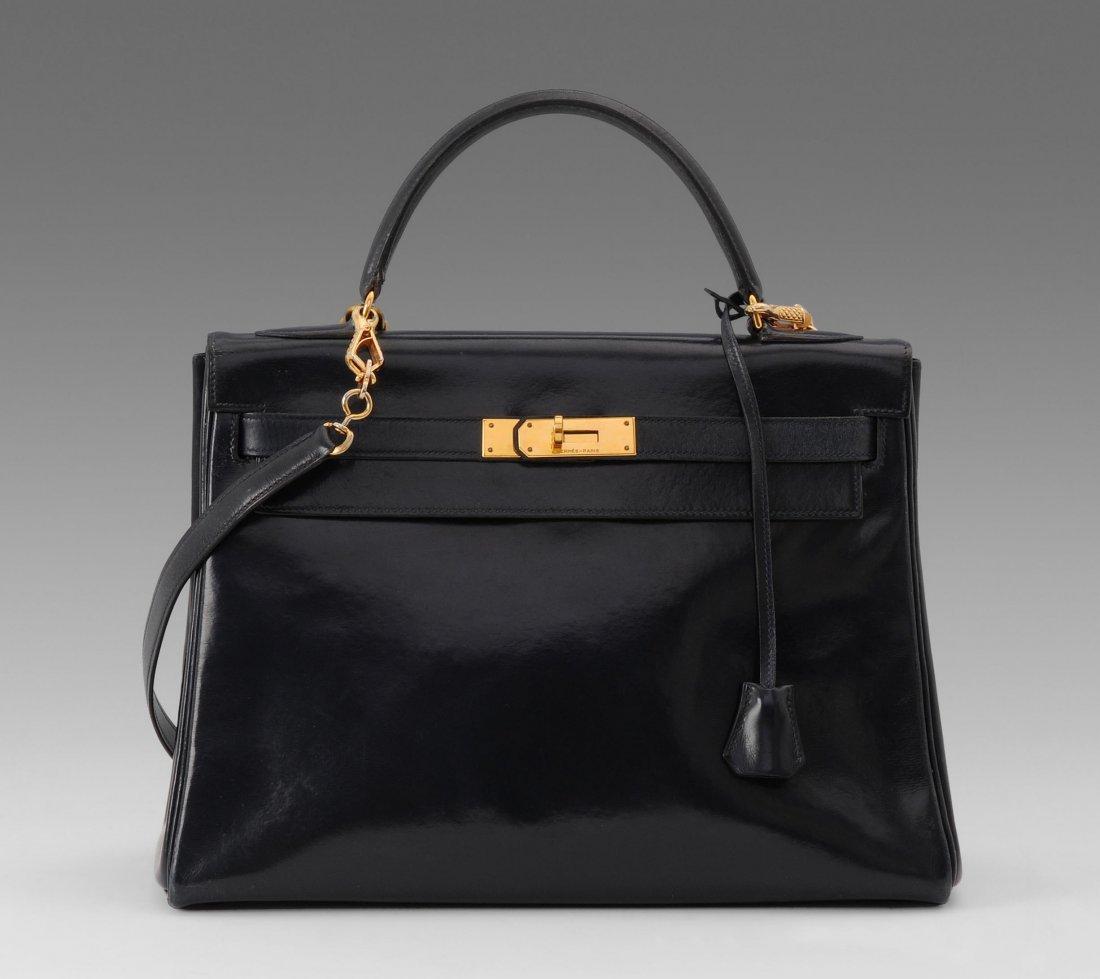 "Hermès, dunkelblaue""Kelly""-Bag, 32 cm Dunkelblaues"