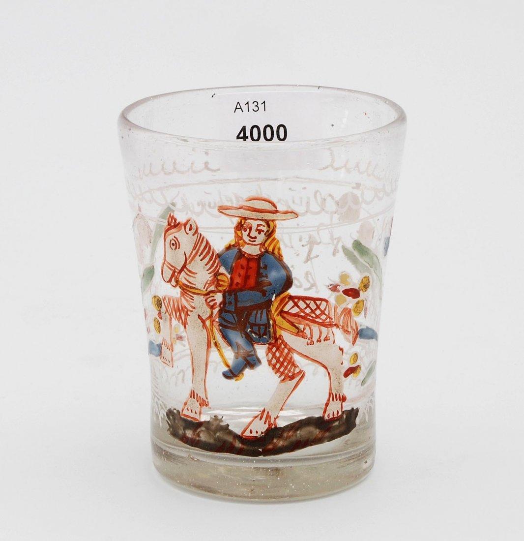 Becher, wohl Flühli/CH, dat. 1718 Farbloses Glas,