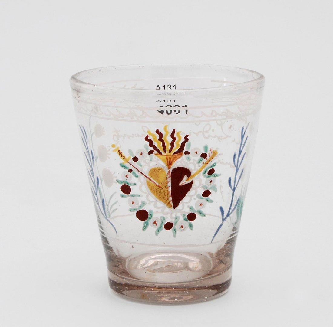 Becher, alpenländisch, dat. 1727 Farbloses Glas,