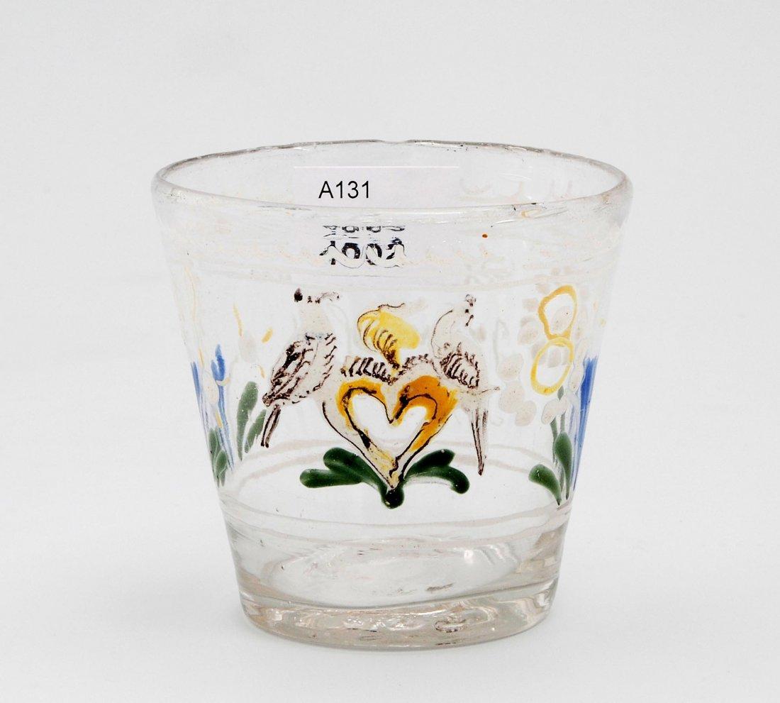 Becher, alpenländisch, dat. 1754 Farbloses Glas,