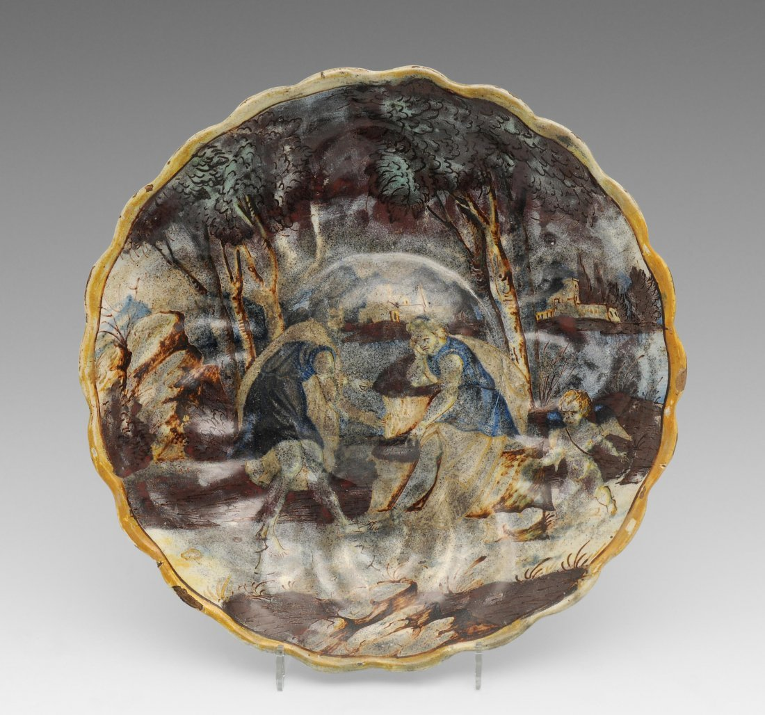 Schale, wohl Urbino, 16.Jh. Majolika, figürliche