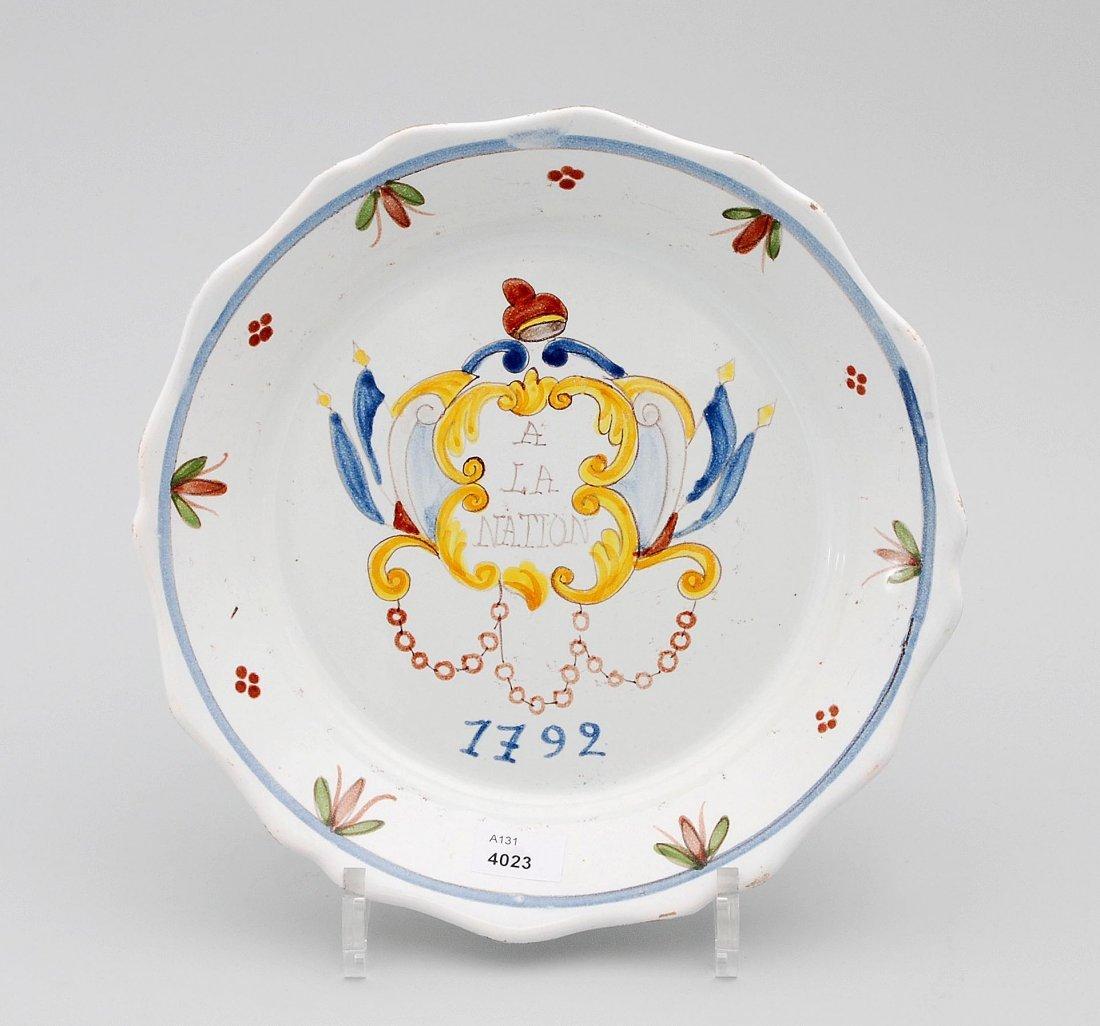 Revolutionsteller, Frankreich, mit Jahreszahl 1792