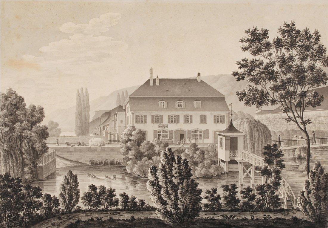 Biel Landgasthof bei Biel. Grisaille von R. Roller,