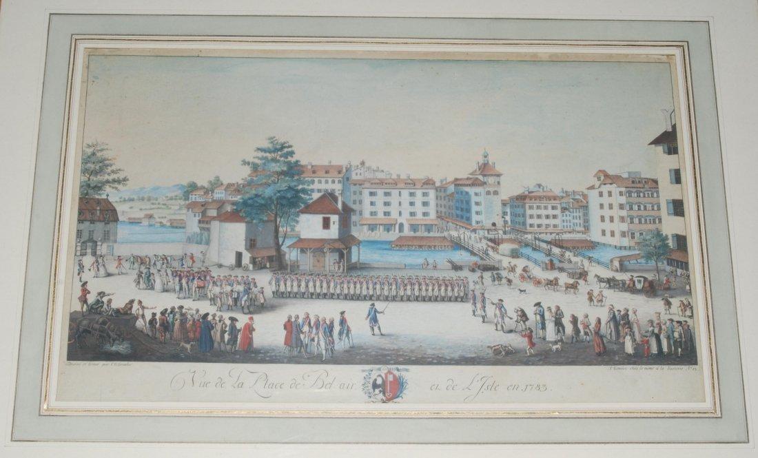 Genf Vue de la Place de Bel-air et de L'Isle en 1783.