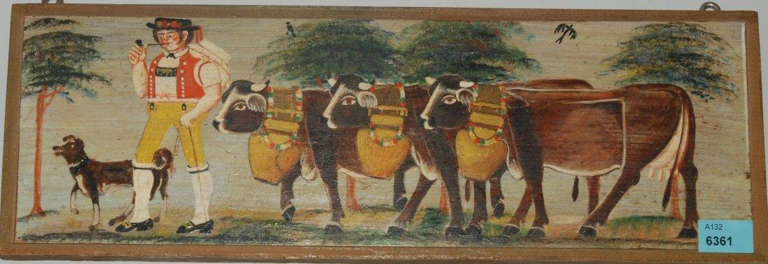 Anonym, um 1970/80 Alpfahrt. Öl auf Holz. 12x14,7 cm.