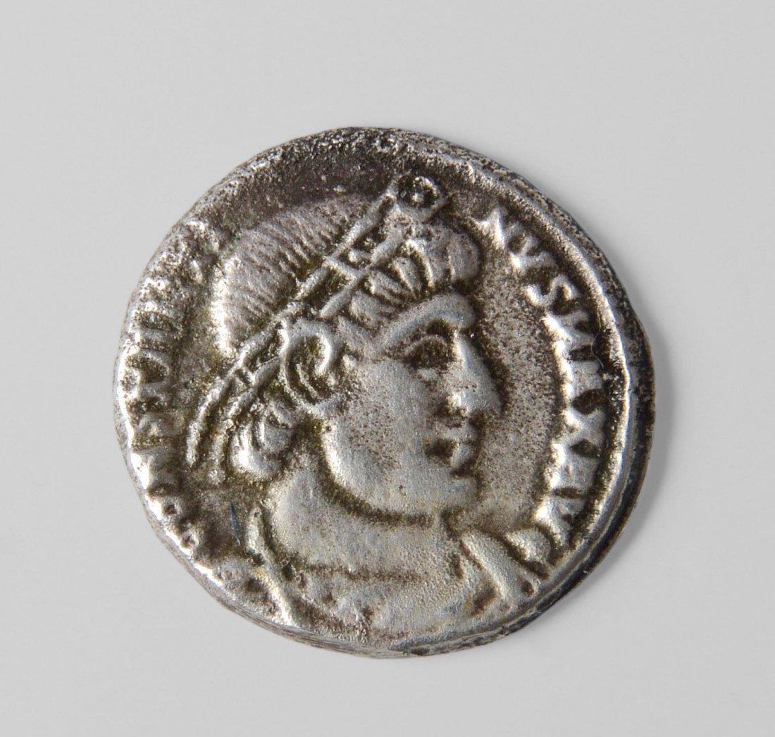 Silbermünze Nummi/Folles, Byzanz, nach 300 n.Chr..