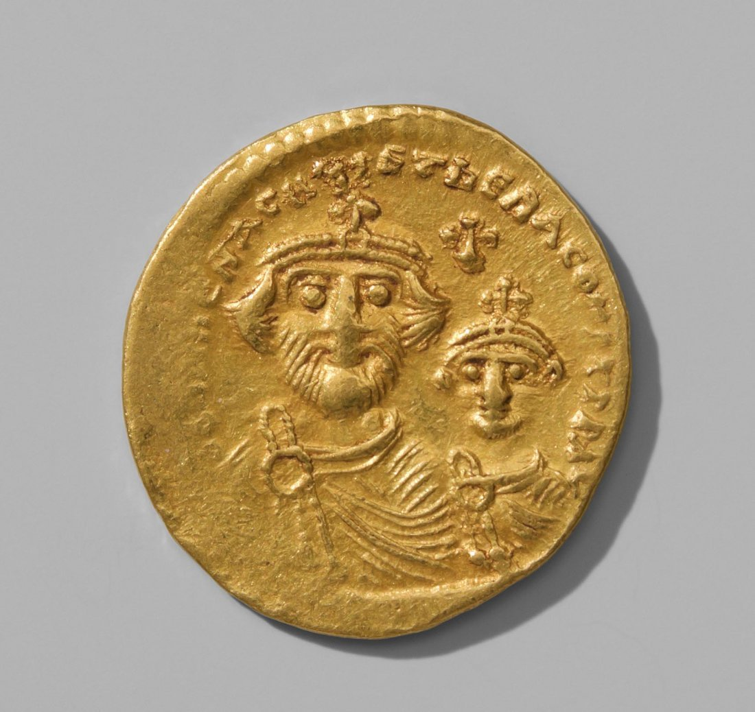 Solidus Byzanz, 610-640, Bildnis von Herakleios und