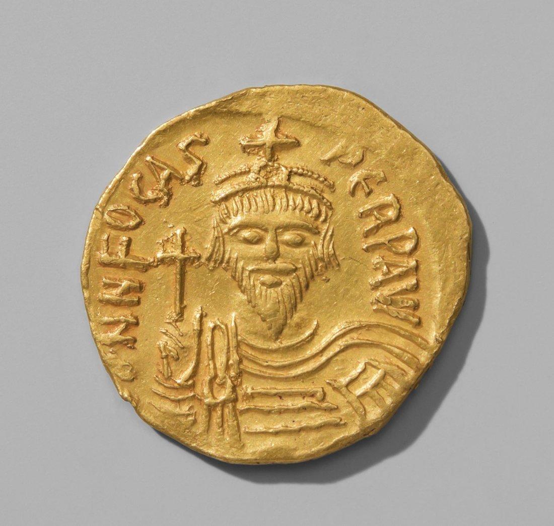 Solidus Byzanz, um 602-610. Bildnis des Flavius Focas.