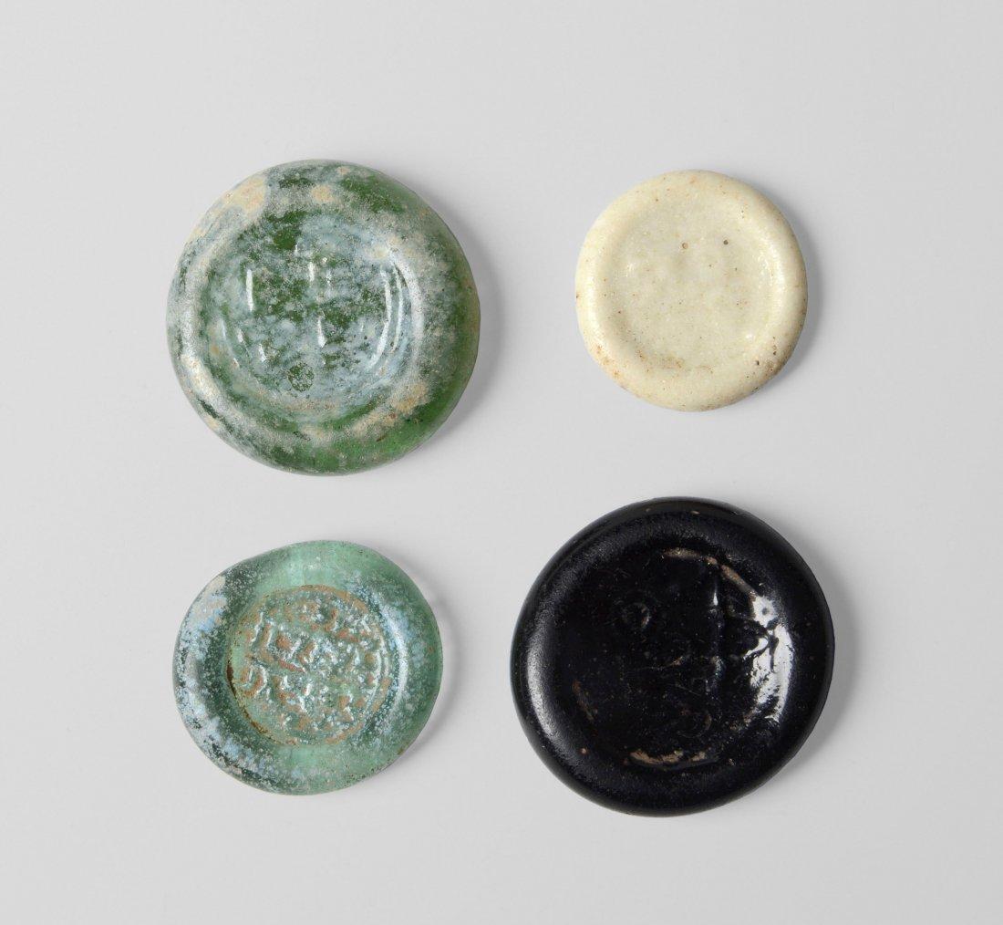 4 Glasmünzen Fatimidisch, Kalifat des Al - Hakim, um