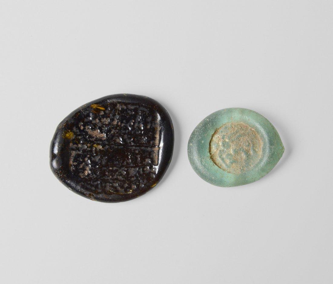 2 Glasmünzen Fatimidisch, Kalifat des Al - Zahir, um