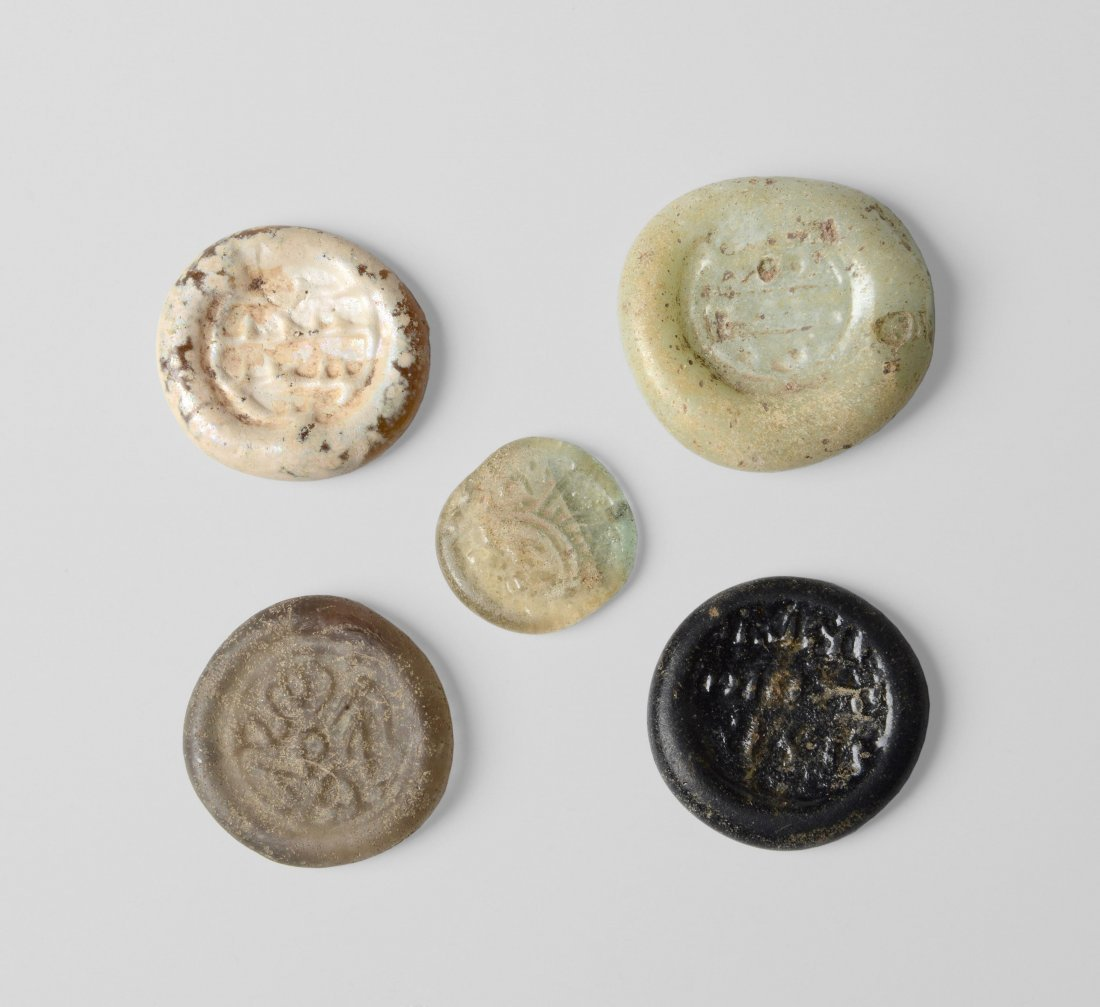 5 Glasmünzen Fatimidisch, Kalifat der Mameluken, 13. -