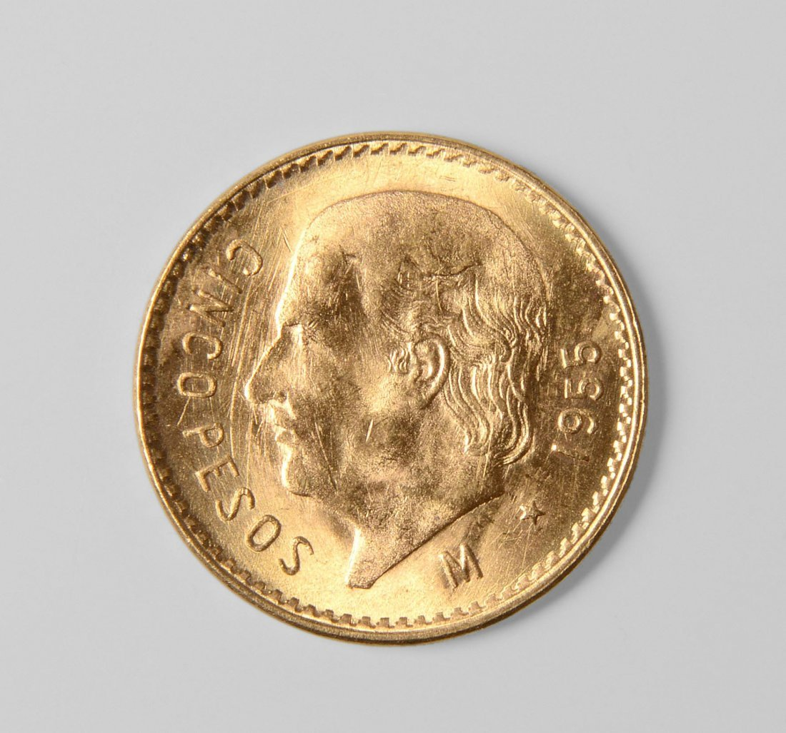 5 Peso Goldmünze Mexiko, 1955. Die 5-Peso-Goldmünze,