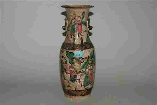 Vase China, 20.Jh. Steinzeug. Balusterform. Polychrome