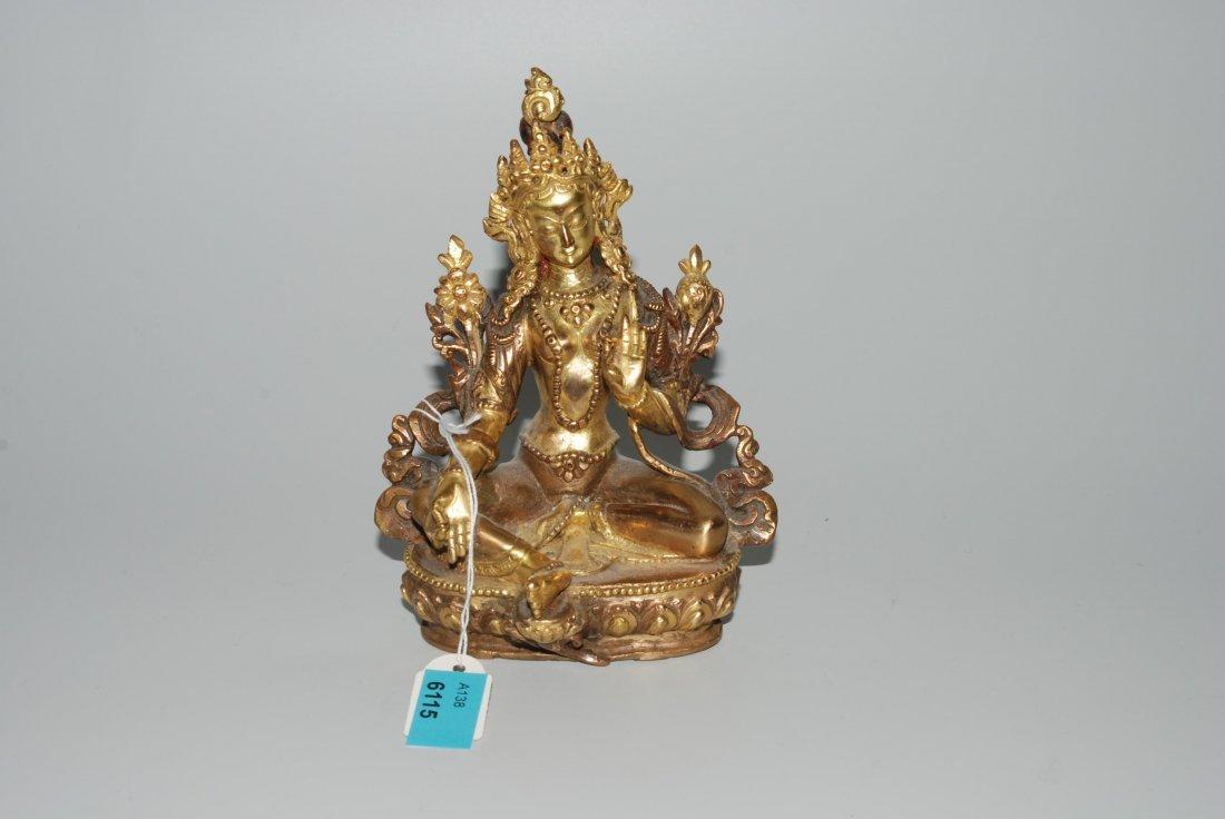 Grüne Tara Nepal/Tibet, 20.Jh. Kupfer, vergoldet. H