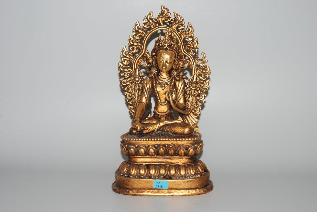 Bodhisattva Nepal, 20.Jh. Kupferlegierung, vergoldet.