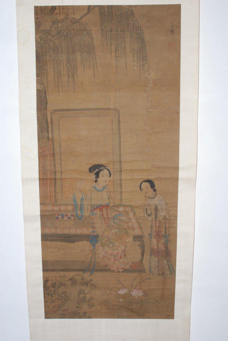Lot: 2 Rollbilder China. Farbe auf Seide. Signiert Yu
